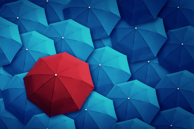 Red umbrella in a collection of blue umbrellas