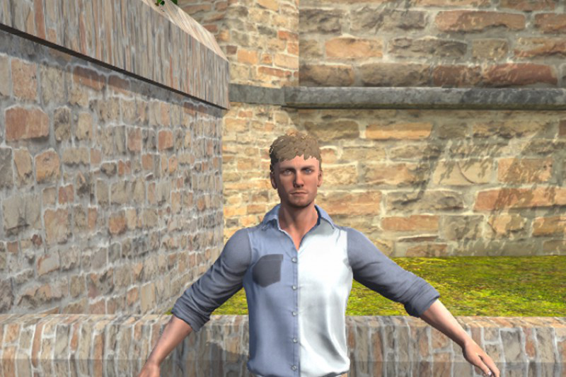 CGI man by a church wall