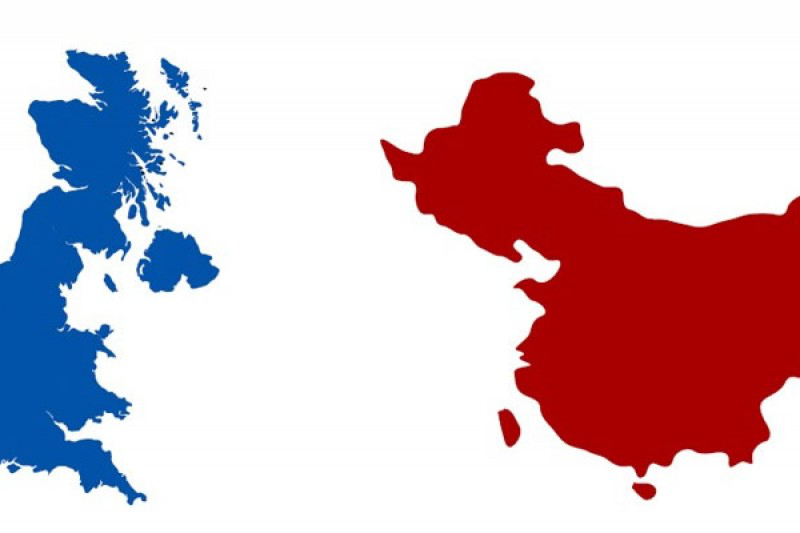 Map of China and England
